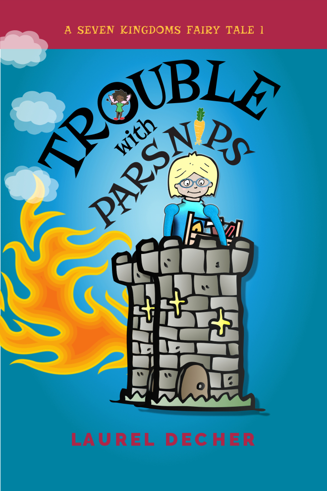 book cover of Trouble With Parsnips shows princess with toolbox on top of burning tower