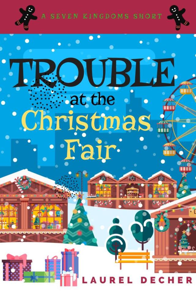 Book cover for bonus story Trouble at the Christmas Fair shows snow on German Christmas market