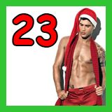shirtless santa with a scarf and the number 23