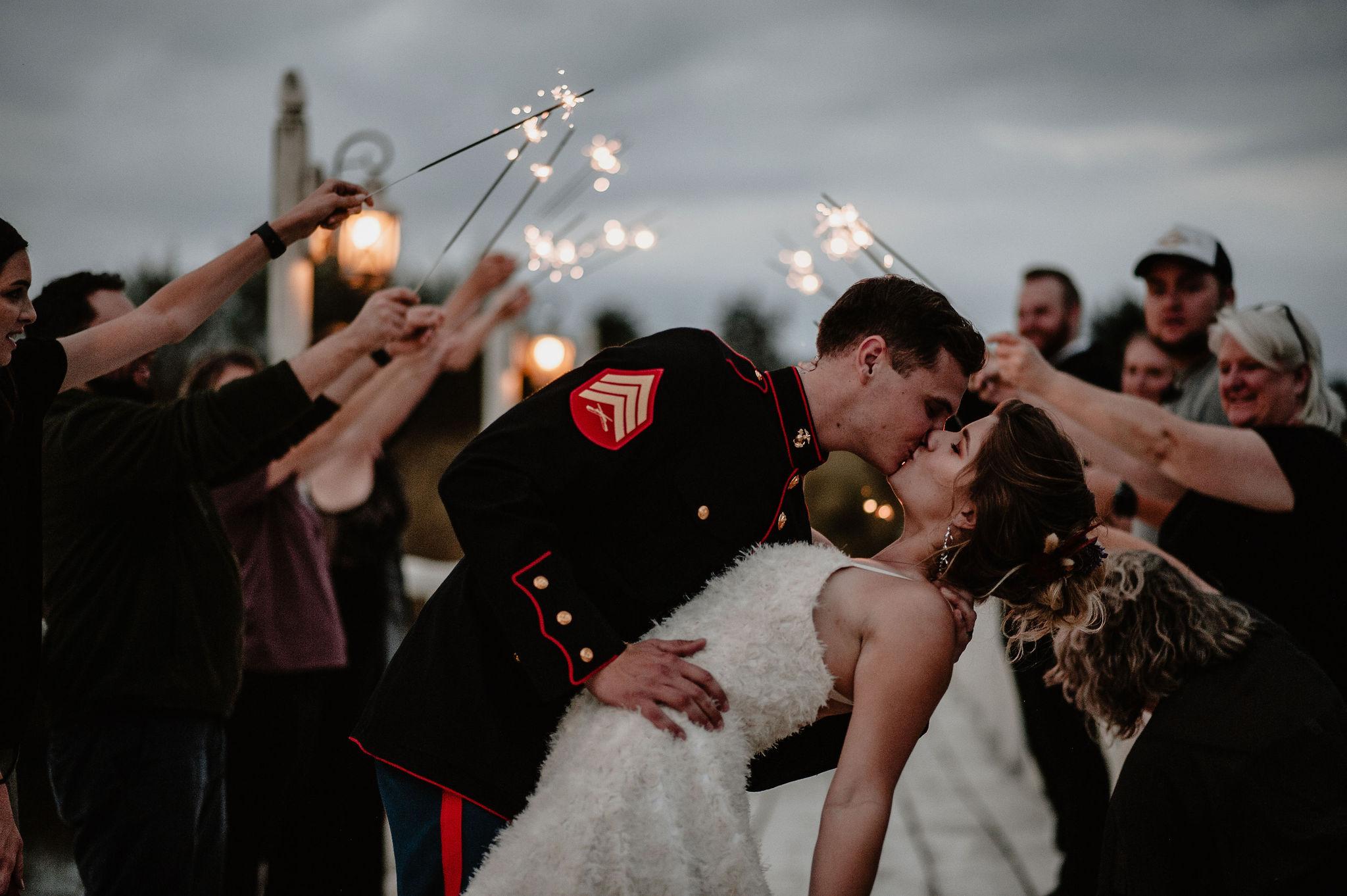 Military wedding, wedding sparklers
