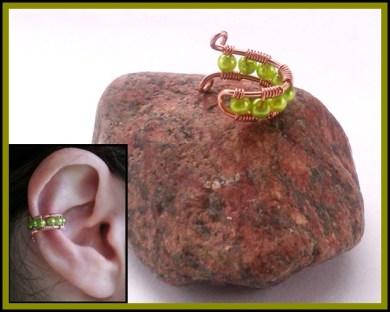 green beaded earcuff