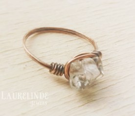 kristal en koper wire wrap ring