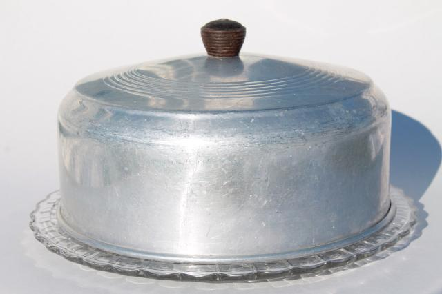 1940s Or 50s Vintage Kitchen Glass Cake Plate W Metal