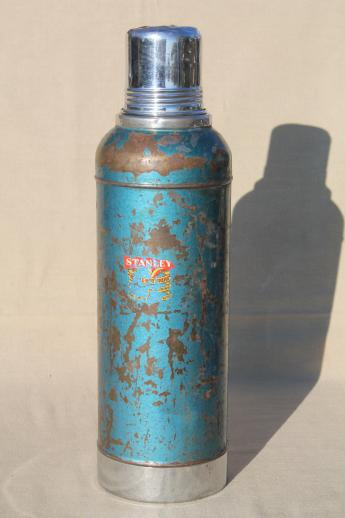 1950s Vintage Stanley Thermos Half Gallon Vacuum Bottle W Old Cork Stopper