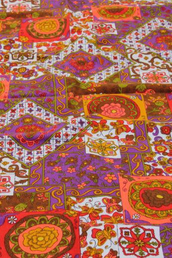 70s Vintage Hippie Boho Cotton Crinkle Fabric Retro