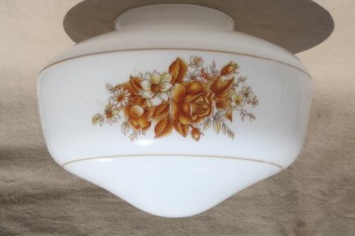 80s New Old Stock Lighting Fixtures Ceiling Fan Lights W Floral Milk Glass Shades