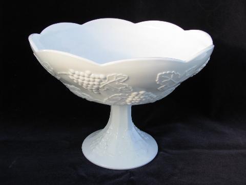 Indiana Harvest Grapes Vintage Milk Glass Compote Pedestal