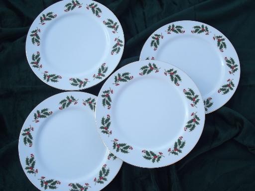 Japan Fine China Holiday Plates Set Christmas Holly