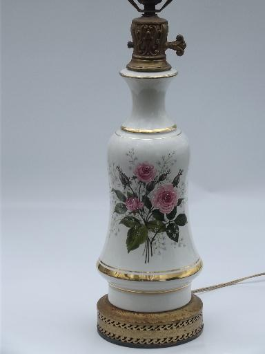 Queens Rose Pattern Vintage China Table Lamp Roses And Babys Breath