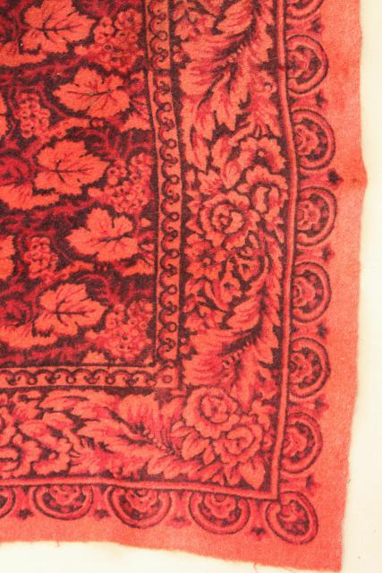 Antique 1800s Vintage Wool Tablecloth Turkey Red William Morris Style Print