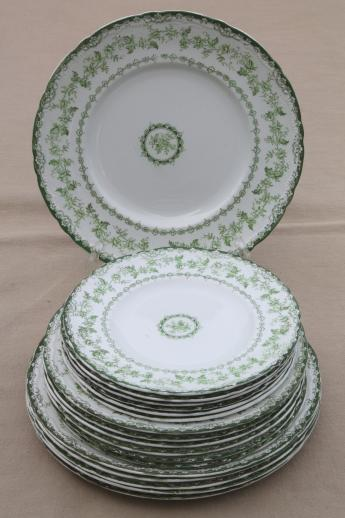 Antique Torby Green Transferware China Plates