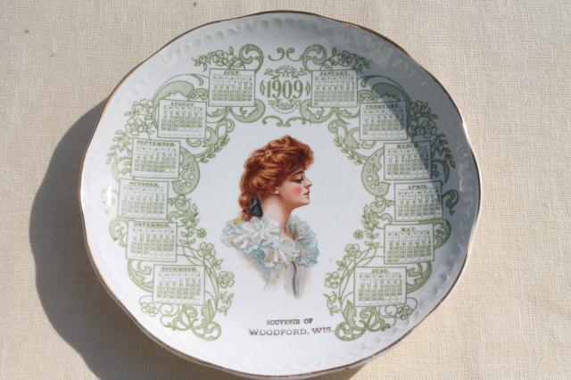 Antique China Calendar Plate Vintage 1909 W Gibson Girl