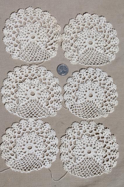 Antique Ecru Cotton Crochet Lace Doilies Large Lot