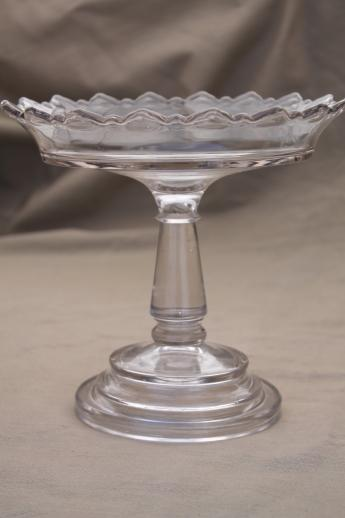 Antique Glass Comport Tall Glass Compote Bowl Or Fruit