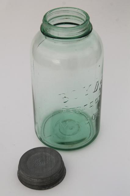Antique Green Glass Big Two Quart Canning Jar Boyds Perfect Mason Jar W Ball Zinc Lid