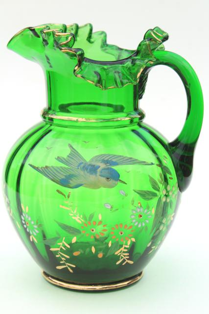 Antique Hand Painted Blown Glass Pitcher Emerald Green