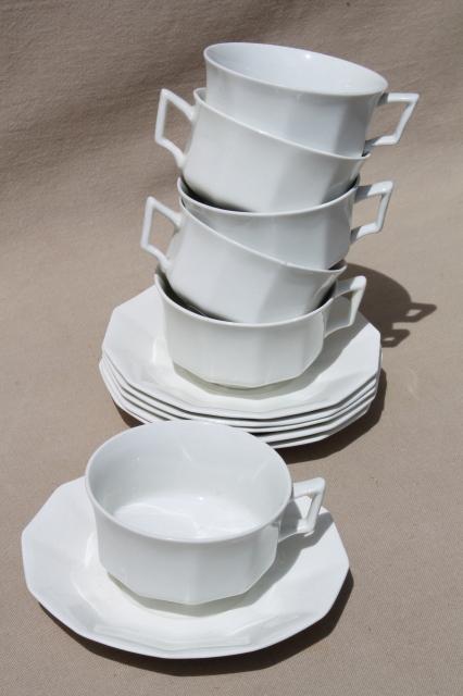 Antique Plain White China Cups Amp Saucers Set For 6 Vintage Johnson Bros Circa 1913