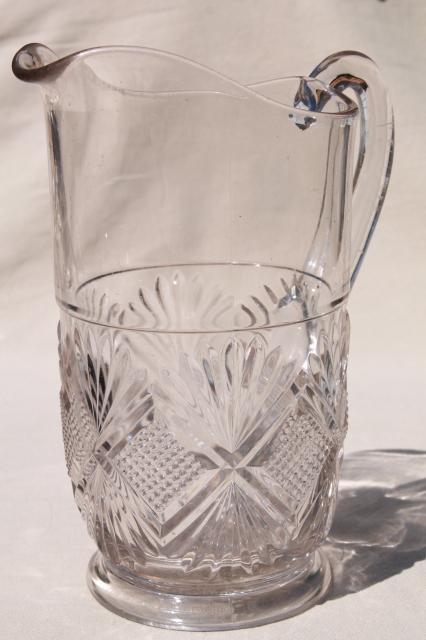 Antique Pressed Glass Lemonade Pitcher EAPG Diamond