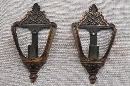 antique slip shade sconces pair of wall lights, early ... on Sconces No Electric Power id=37158