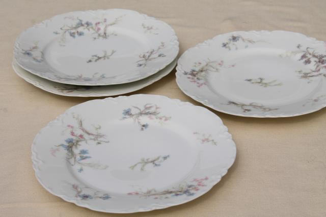 Antique Vintage Haviland Limoges China Plates Blue Cornflowers W Pink
