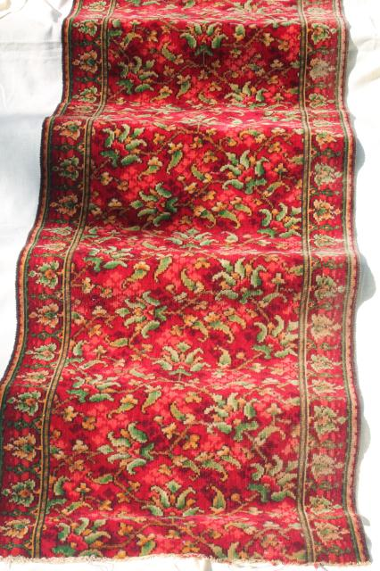 Antique Vintage Rose Red William Morris Style Floral Wool