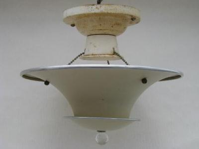 art deco vintage ceiling light fixture  tiered aluminum hanging shade