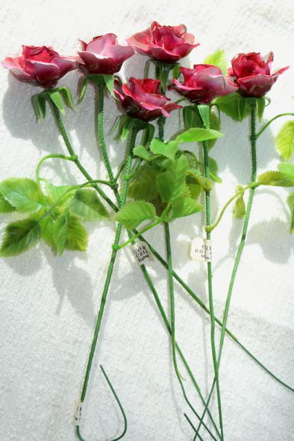 Capodimonte Style Vintage Bone China Flowers Long Stemmed Rose Sweetheart Roses
