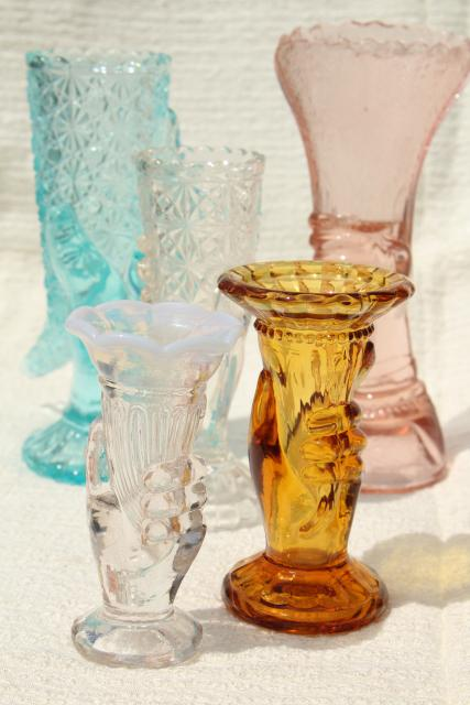 Colored Glass Figural Flower Vases Pressed Glass Lady