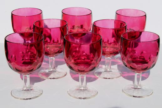 Huge Hoffman House Thumbprint Glass Goblets Wine Glasses Ruby Stain Flashed Color Clear Stem