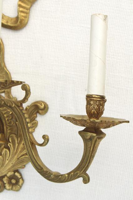 huge solid brass candle sconce electric wall light ... on Brass Wall Sconces Non Electric Lighting id=35041