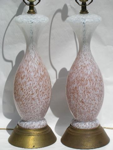 Huge Vintage French Table Lamps Murano Style Twisted Swirl Art Glass