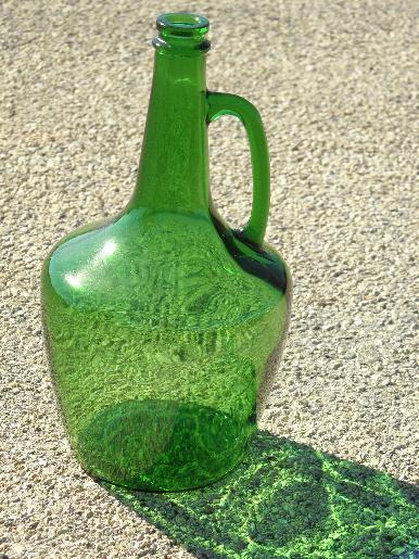 Large Old Green Glass Wine Bottle W Jug Handle