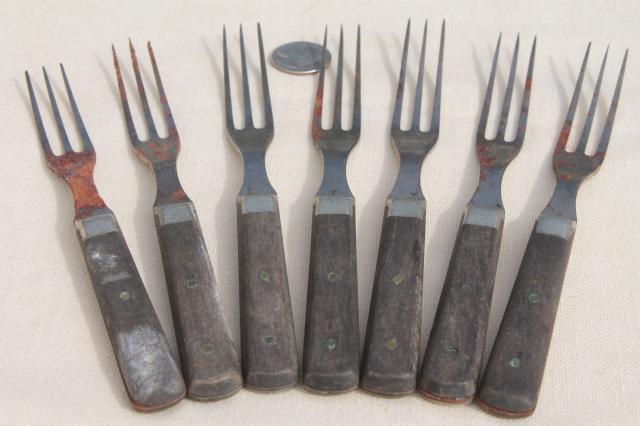 Lot Old Antique Wood Handled Steel Forks Amp Knives Civil