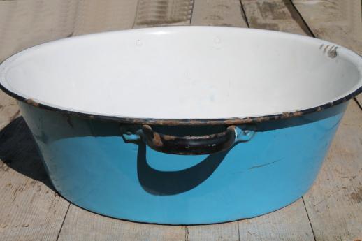 Old Antique Blue Amp White Enamelware Dish Pan Wash Tub Or