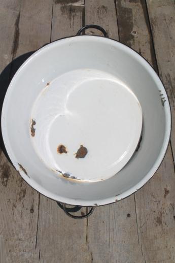 Old Antique Blue Amp White Enamelware Dish Pan Wash Tub Or Primitive Sink Basin