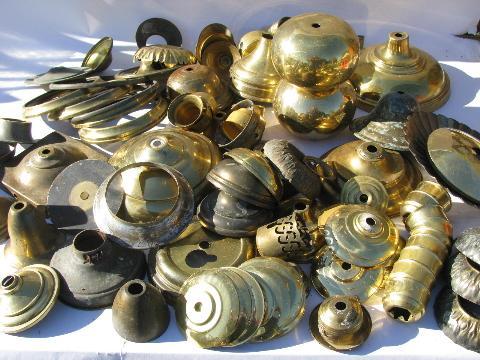 Old Solid Brass Lamp Parts Lot Vintage Chandelier Light Restoration Pieces Etc
