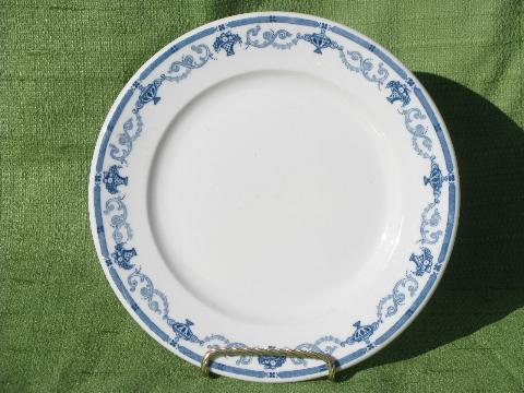 Old White Ironstone China Plates And Platters Borders In
