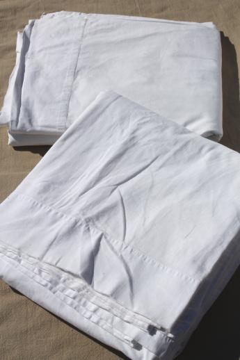 Old Fashioned Plain White Cotton Flat Bed Sheets Amp Flannel Sheet Blankets Vintage Linens Lot