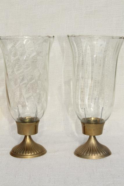 Pair Solid Brass Candlesticks Vintage Candle Holders