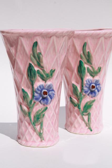pair vintage pottery wall pockets, pretty pink flower ... on Pocket Wall Sconce For Flowers id=71217