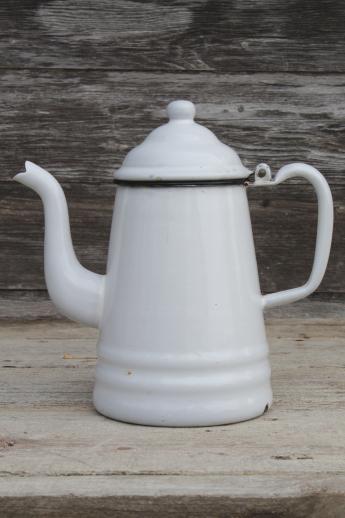Primitive Vintage Enamelware Coffeepot Six Cup White