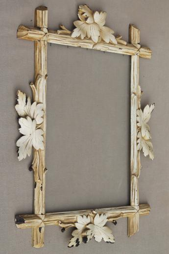 Rustic Antique Adirondack Carved Wood Picture Frame