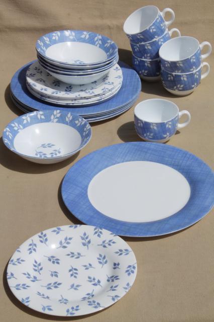 Vintage Arcopal Milk Glass Dishes Set For 6 Blue Amp White