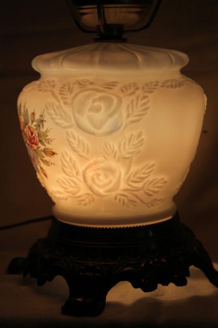 Vintage Fenton Milk Glass Lamp Puffy Rose W Roses