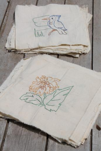 Vintage Album Quilt Blocks Hand Stitched Embroidered