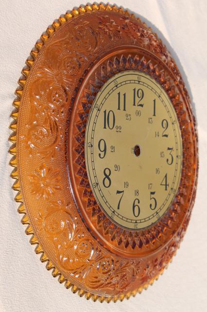 Vintage Amber Tiara Sandwich Pattern Glass Large Round