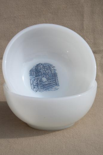 Vintage Blue And White Currier Amp Ives Pattern Milk Glass