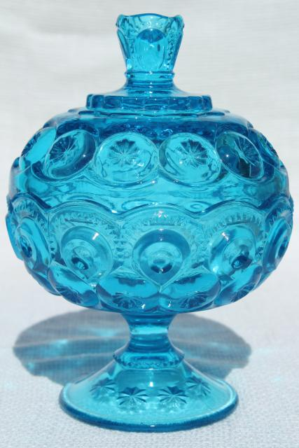 Vintage Blue Glass Candy Dish Compote Moon And Stars Pattern LE Smith Glass