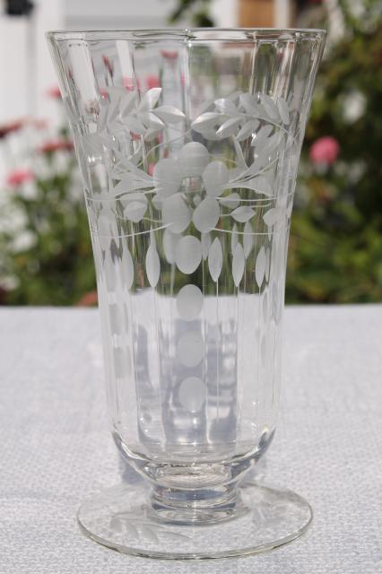 Vintage Crystal Clear Etched Cut Glass Footed Tumblers 8