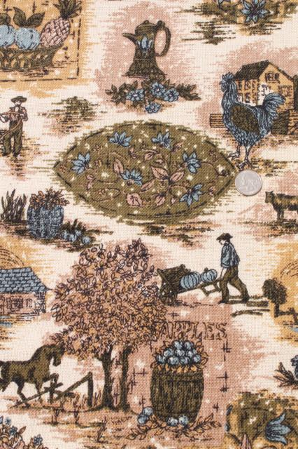 Vintage Fabric French Country Scenes Toile Style Print Linen Weave In Blue Olive Green Flax